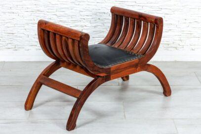 Krzesło rzymskie skóra naturalna- Orange Tree meble indyjskie