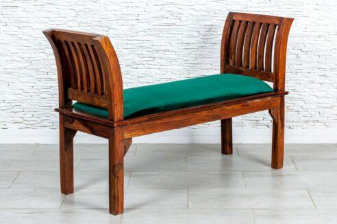 Rzymska ławka z zieloną alcantrą - Orange Tree meble indyjskie