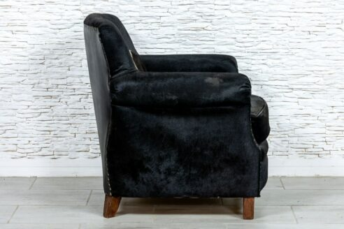Czarny fotel skórzany country - Orange Tree meble indyjskie