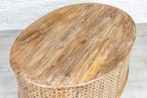 Eliptyczna ława kawowa z ażurem - Orange Tree meble indyjskie