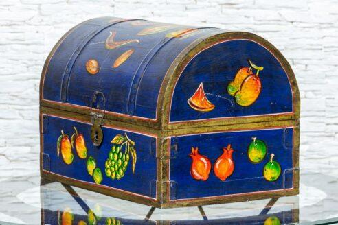 Chabrowy kuferek z owocami - Orange Tree meble indyjskie