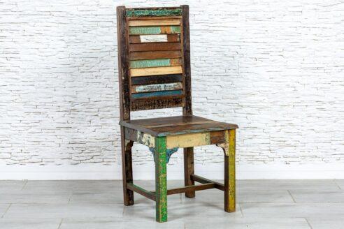 Kolorowe krzesło recycled - Orange Tree meble indyjskie