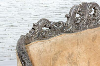 Srebrna sofa z welurem - Orange Tree meble indyjskie