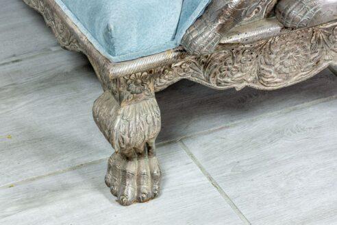 Srebrna sofa z lwami - Orange Tree meble indyjskie