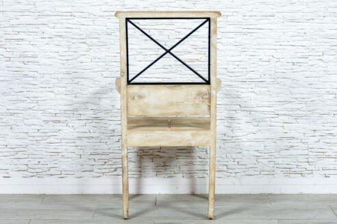 Bielone krzesło z podłokietnikami - Orange Tree meble indyjskie