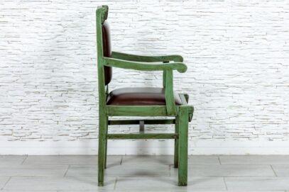 Zielony fotel ze skórą naturalną - Orange Tree meble indyjskie