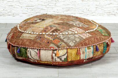 Duży puf bawełniany - Orange Tree meble indyjskie