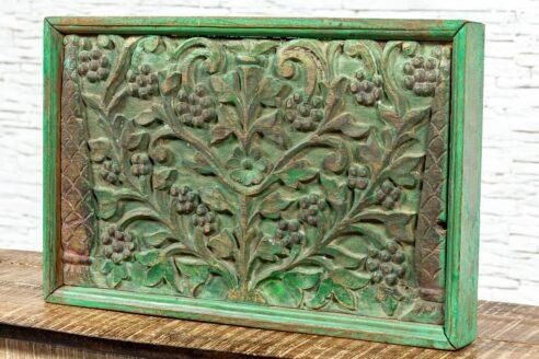 Zielony rzeźbiony panel - Orange Tree meble indyjskie