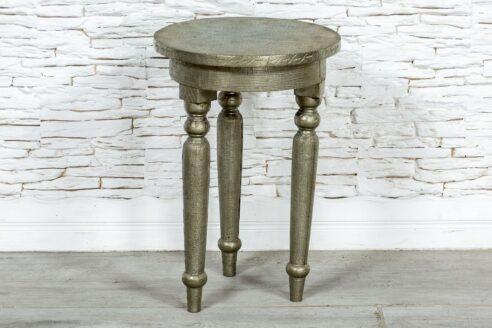 Okrągły srebrny stolik - Orange Tree meble indyjskie