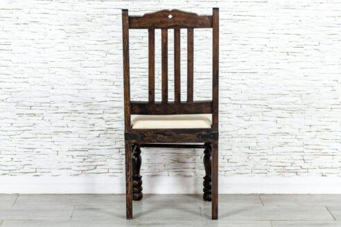 Brązowe krzesło tapicerowane - Orange Tree meble indyjskie