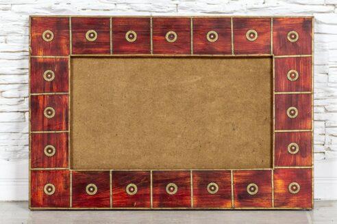 Czerwona rama z mosiądzem- Orange Tree meble indyjskie