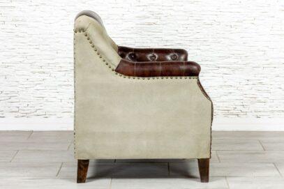 Fotel płócienno-skórzany vintage - Orange Tree meble indyjskie