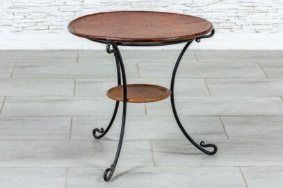 Metalowy stolik ze skórą - Orange Tree meble indyjskie