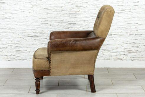 Fotel vintage skóra naturalna - Orange Tree meble indyjskie