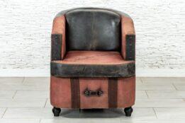 Skórzany fotel vintage - Orange Tree meble indyjskie