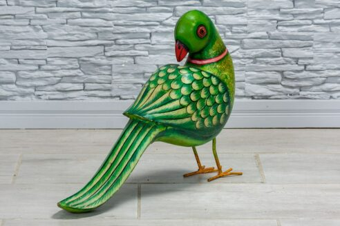 Zielona papuga drewniana 3