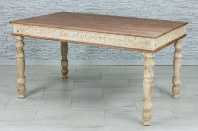 Rzeźbiony stół jadalny z tekowym blatem 1
