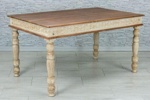 Rzeźbiony stół jadalny z tekowym blatem 2