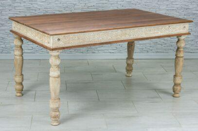 Rzeźbiony stół jadalny z tekowym blatem 3