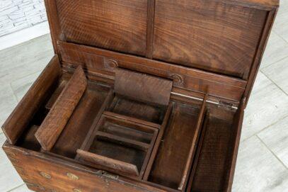 Stary kufer tekowy z wieloma skrytkami 7