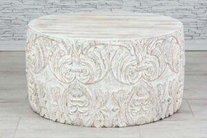 """Okrągły bielony stolik """"Himalaya"""" 1"""