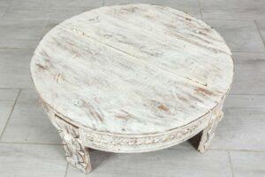Bielony stolik ryżowy z klapą 2