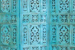 Błękitny parawan ażurowy 2
