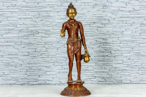 Mosiężna figurka młodego buddysty 81cm 1