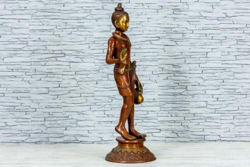 Mosiężna figurka młodego buddysty 81cm 2