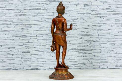 Mosiężna figurka młodego buddysty 81cm 4