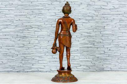 Mosiężna figurka młodego buddysty 81cm 5