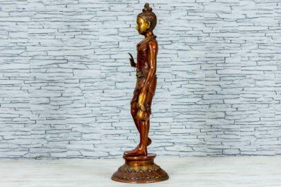 Mosiężna figurka młodego buddysty 81cm 7