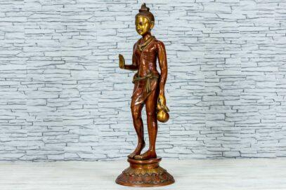Mosiężna figurka młodego buddysty 81cm 8