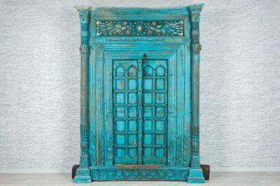 Niebieskie drzwi pawiami - unikat 1