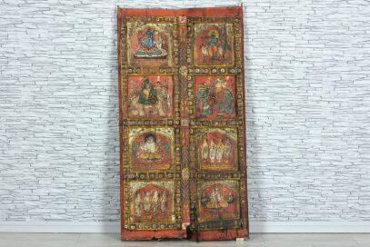 Stare kolorowe drzwi ze scenkami 1
